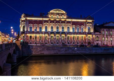Beloselsky-Belozersky Palace, twilight in the city, St. Petersburg, Russia