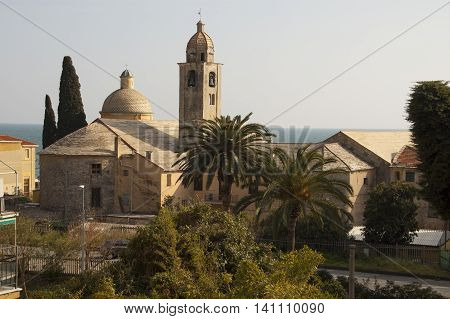 This photo represents a view of the church of Varigotti village Italian Riviera Italy