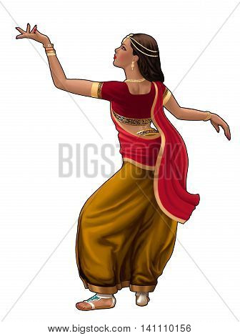 Bollywood dancer in traditional dress on a transparent background.