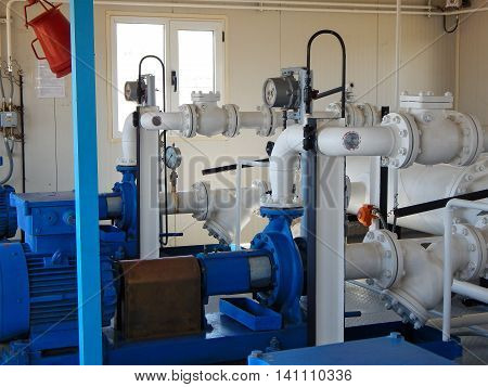 Pump pumping gas condensate. Pump station. pipeline,