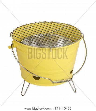 Portable barbecue isolated on white. Yellow colour barbecue.