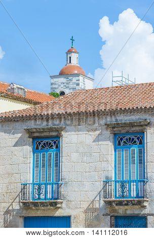 HAVANA CUBA - JULY 18 : Architectural details in old town of Havana Cuba on July 18 2016. The historic center of Havana is UNESCO World Heritage Site since 1982.