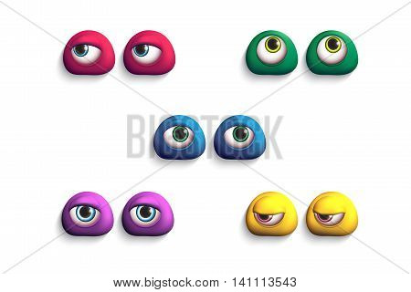 3d colorful eyes-monsters. Set of comic elements for your design.