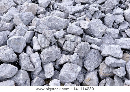 Building debris - the broken stones of the destroyed building.