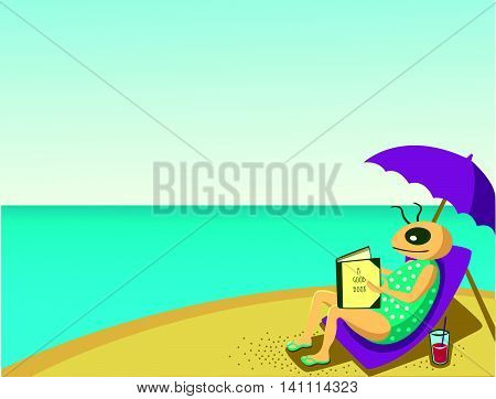 One person is sitting at the beach relaxing under a parasol reading a good book. The weather is sunny. It is a hot day.