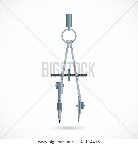 Pair of compasses. Drawing compass isolated on white background. Vector illistration.