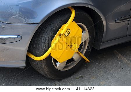 Wheel lock attached for illegal parking in Bulgaria