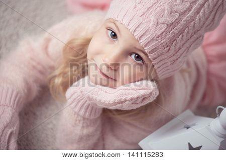 Cute Girl In Pink Celebrating Christmas