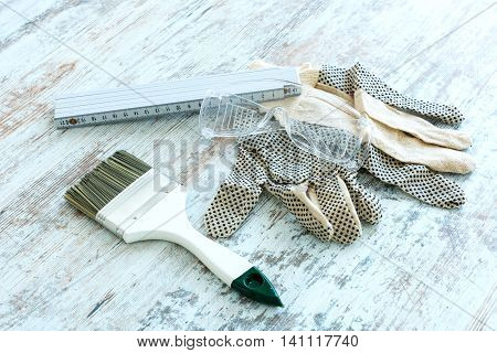 Painting Tools for home renovation. Digital photo.