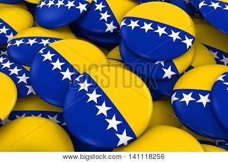 Bosnia Herzegovina Badges Background - Pile Of Bosnian And Herzegovinan Flag Buttons 3D Illustration