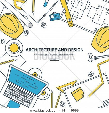 Line art.Vector illustration. Engineering and architecture. Drawing, construction. Architectural project. Design, sketching. Workspace with tools. Planning, building.