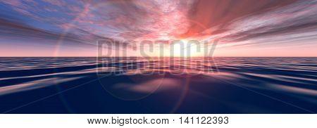 A Warped Sunset. A 3D rendered Illustration.