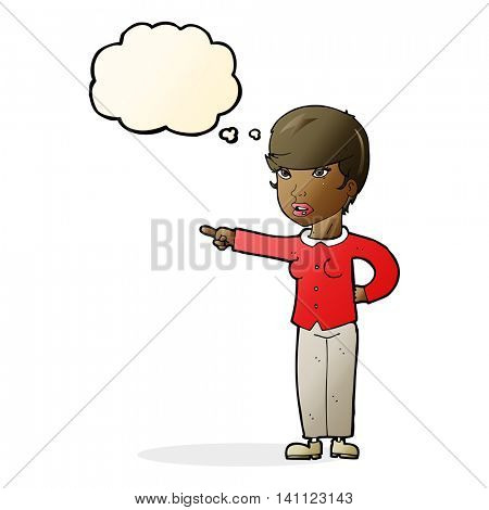 cartoon woman pointing finger of blame with thought bubble