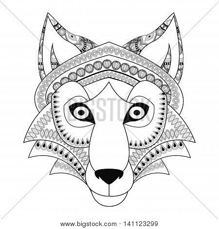 flat design tribal wolf icon vector illustration