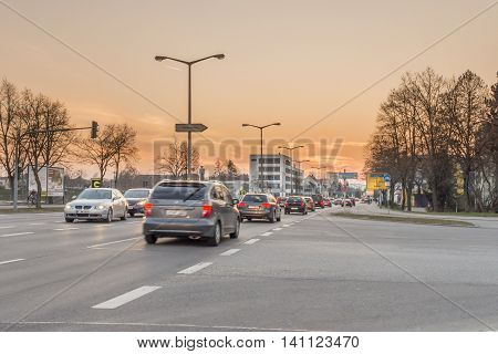 Regensburg, Bavaria, Germany - March 18, 2016: This picture shows a street in Regensburg near Steinweg during sunset.