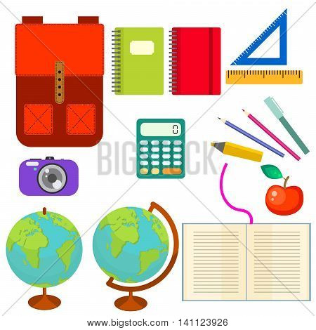 School supplies vector clip art objects. Blackboard banner template with education objects - knapsack, globe, rulers and stationery items.