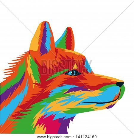 flat design colorful wolf drawing icon vector illustration