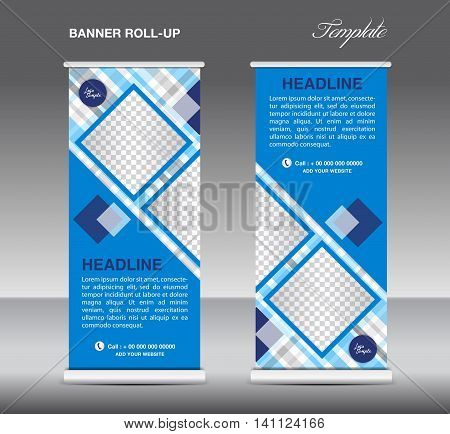 Blue Roll up banner template vector roll up stand display banner design poster flyer advertisement