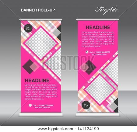 Pink Roll up banner template vector roll up stand display banner design poster flyer advertisement