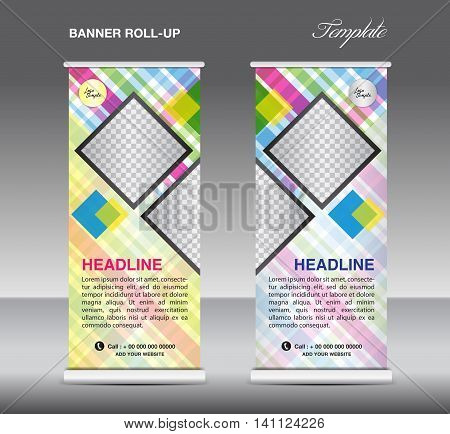 Colorful Roll up banner template vector roll up stand display banner design flyer advertisement