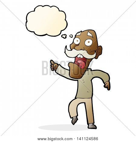 cartoon frightened old man with thought bubble poster