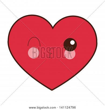 flat design kawaii heart icon vector illustration