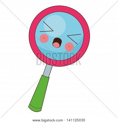 flat design kawaii magnifying glass icon vector illustration