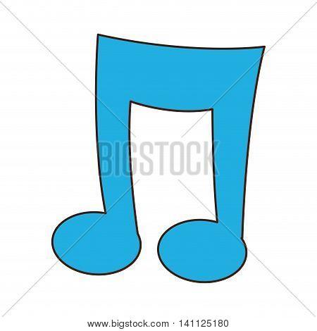 flat design cartoon music note icon vector illustration