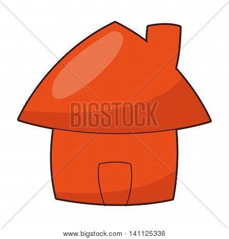 flat design cute cartoon house icon vector illustration