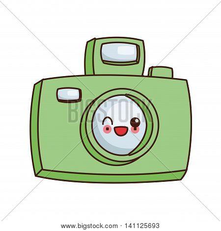 flat design kawaii photographic camera icon vector illustration