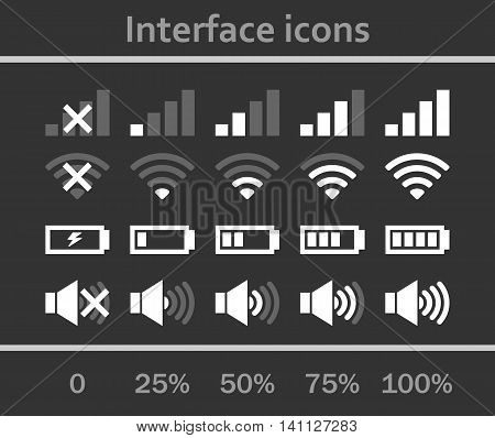 Interface icons set. Status signal battery icon set vector. White and gray colors. Rounded corners. Phone set graphic.