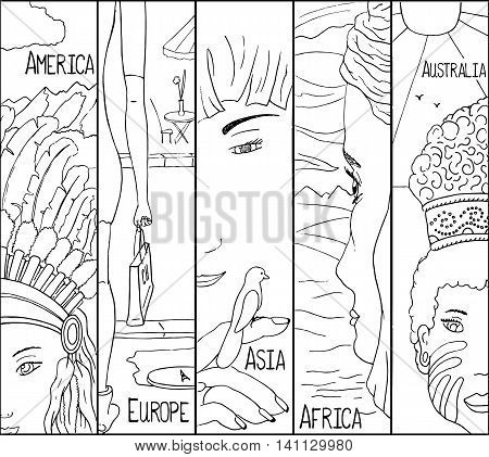 Native girls from 5 continents: Asia Africa Europe America Australia. Adult coloring page. Outlined vector illustration. Travel around the globe. Diverse faces of native people in tribal clothes