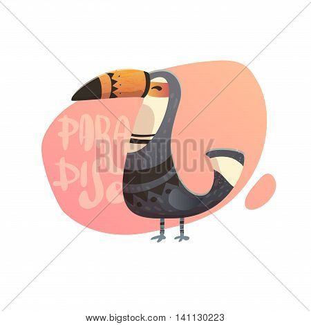Summer illustration of toucan in the background lettering. Text paradise with wild birds. Toucan with tribal pattern. Pirnt on a T-shirt cover of the phone.