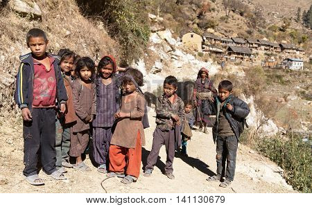 SRIKOT VILLAGE WESTERN NEPAL 29TH OF NOVEMBER 2013 - group of nepalese children in western Nepal