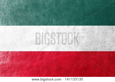 Flag Of Gorzow Wielkopolski, Poland, Painted On Leather Texture