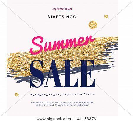 Sale Fashion modern web banner with Gold Brush. Summer sale.