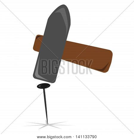 Metal sledge hammer is driving a nail. Isolated vector illustration.