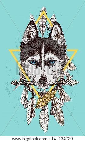 Beautiful hand drawn vector illustration sketching of husky. Boho style drawing. Use for postcards, print for t-shirts, posters.