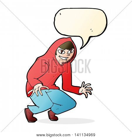 cartoon mischievous boy in hooded top with speech bubble