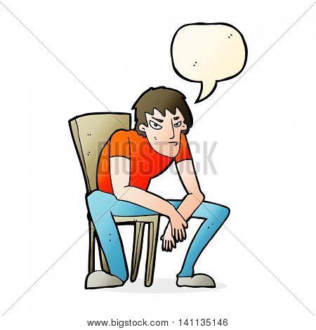 cartoon dejected man with speech bubble