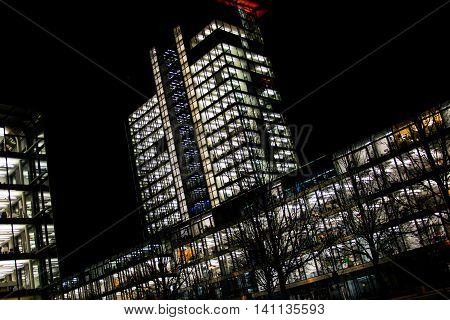 Night Time Lights Office Buildings Abstract Alte Heide