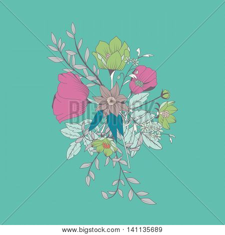 Vector flower bouquet botanical and floral decoration hand drawn vector illustration