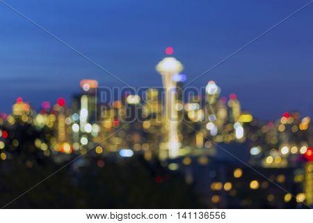 Seattle Washington city skyline evening blue hour defocused blurred bokeh