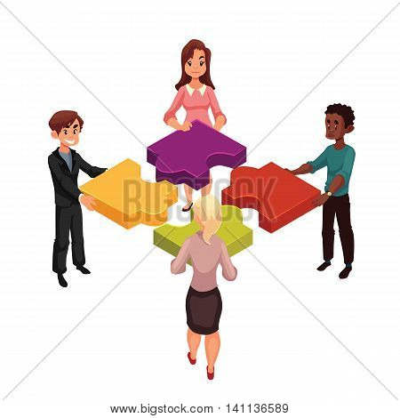 Four people of diverse ethnicity connecting jigsaw puzzle elements, cartoon style vector illustration isolated on white background. Concept of partnership as putting jigsaw puzzles together