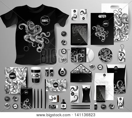 Abstract business set with octopus. Corporate identity templates for seafood, with notebook, card, flag, T-shirt, disk, package, label, envelope, pen, Tablet PC, Mobile Phone, matches, ink, pencil