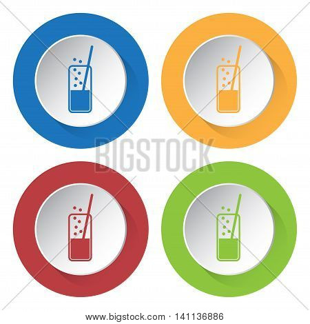set of four colored icons - glass with carbonated drink and straw