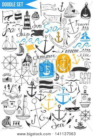 Doodles set - Nautical - anchor , waves, boats