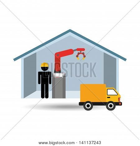 robot machine in house and truck icon, vector illustration