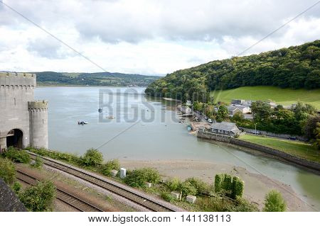 View from Conwy castle walls, Wales, UK