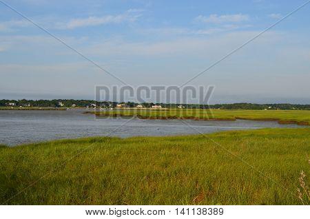 Duxbury Bay in Southeastern Massachusetts at low tide.